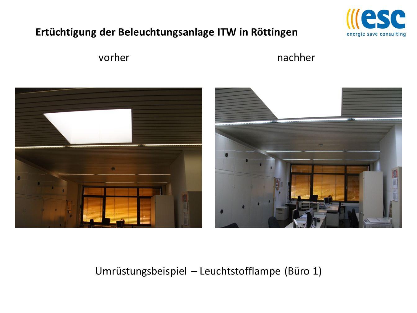 Ertüchtigung der Beleuchtungsanlage ITW in Röttingen Umrüstungsbeispiel – Leuchtstofflampe (Büro 1) vorhernachher