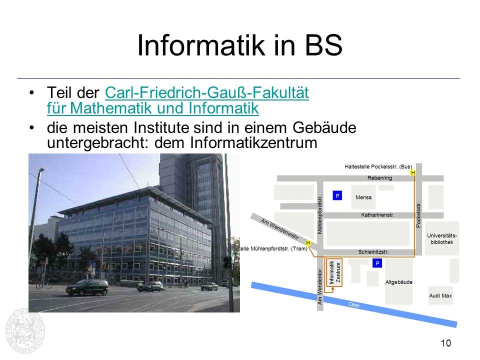 10 Informatik in BS Teil der Carl-Friedrich-Gauß-Fakultät für Mathematik und InformatikCarl-Friedrich-Gauß-Fakultät für Mathematik und Informatik die