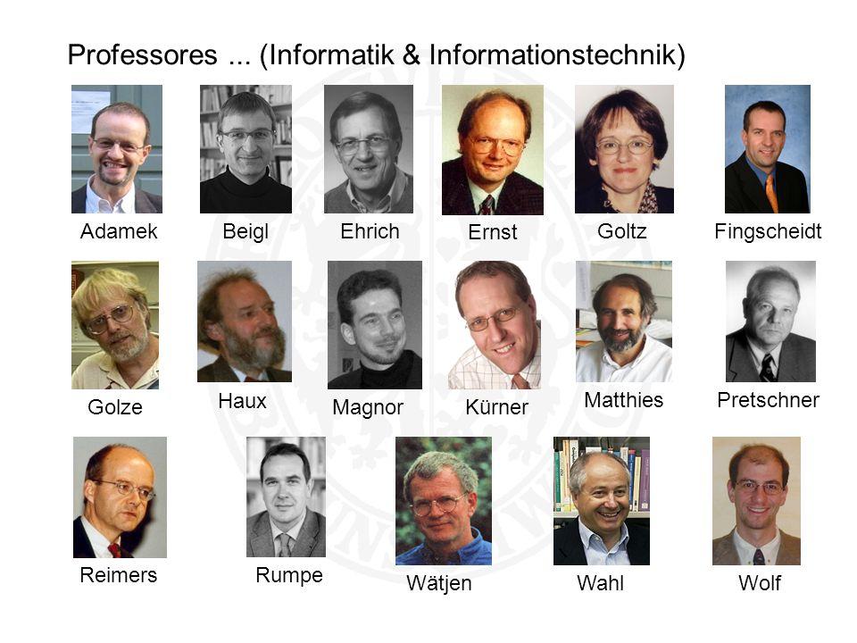 Professores... (Informatik & Informationstechnik) Wahl Ernst Haux Reimers AdamekGolze Wolf Goltz Wätjen MatthiesRumpe KürnerFingscheidt Pretschner Bei