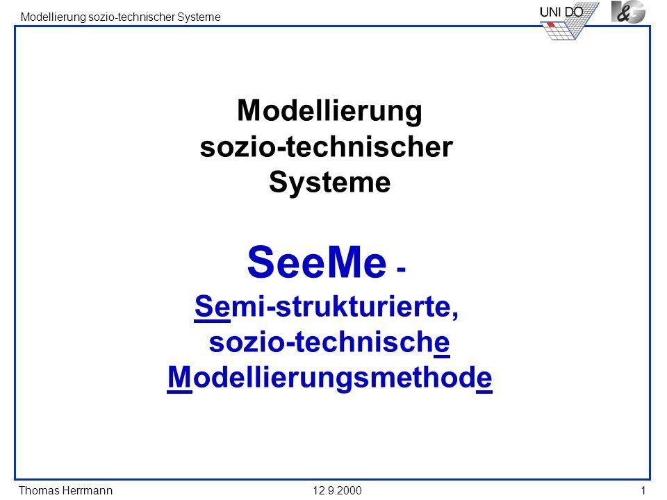 Thomas Herrmann Modellierung sozio-technischer Systeme 12.9.20001 Modellierung sozio-technischer Systeme SeeMe - Semi-strukturierte, sozio-technische