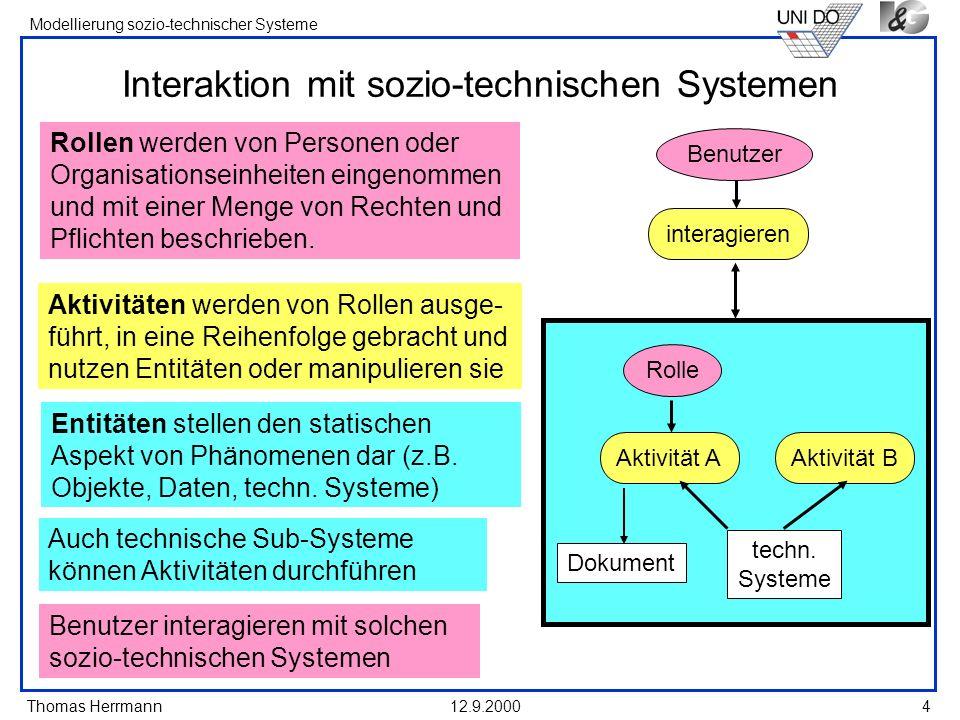 Thomas Herrmann Modellierung sozio-technischer Systeme 12.9.20005 Basis-Elemente und Relationen in See-Me Rolle [1] Aktivität [1] führt aus Rolle [2] beeinflusst verändert wird benutzt Aktivität [2] bezieht sich auf hat Erwartungen an gehört zu wird be- schrieben durch wird gefolgt von Entität [1] Entität [2]