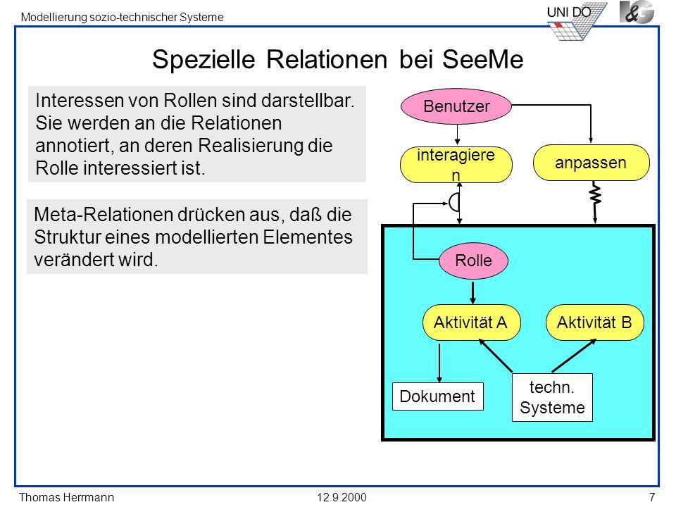 Thomas Herrmann Modellierung sozio-technischer Systeme 12.9.20007 Aktivität A Dokument techn. Systeme Aktivität B Spezielle Relationen bei SeeMe Inter