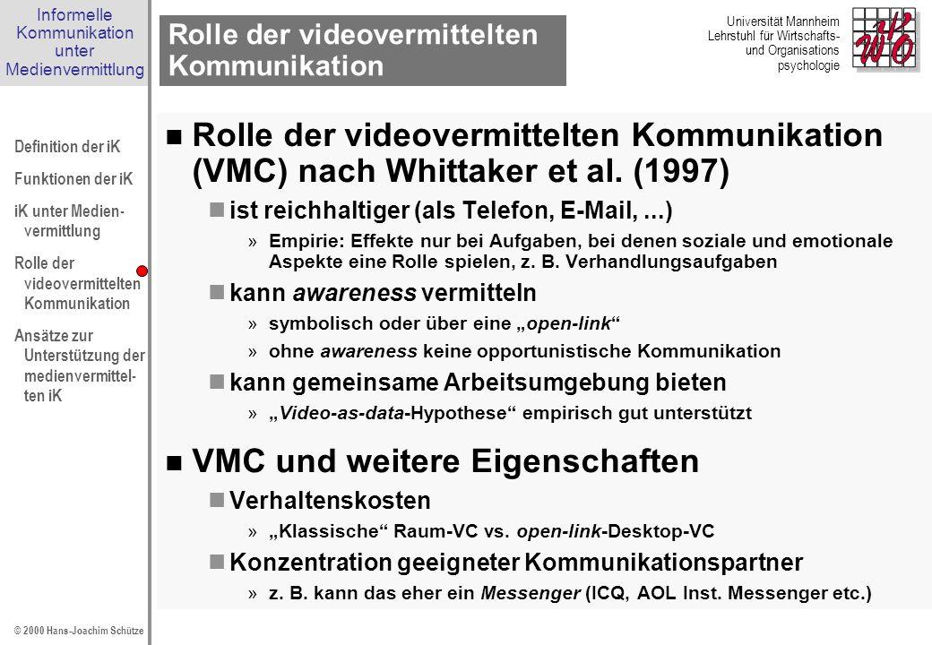 Informelle Kommunikation unter Medienvermittlung Definition der iK Funktionen der iK iK unter Medien- vermittlung Rolle der videovermittelten Kommunik