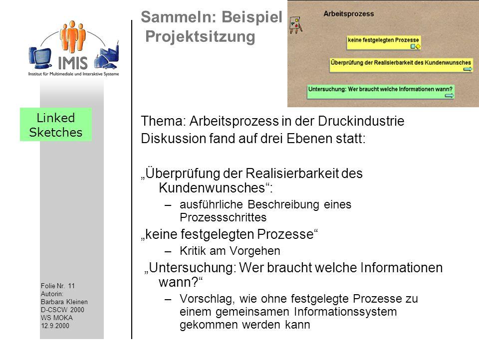 Folie Nr. 11 Autorin: Barbara Kleinen D-CSCW 2000 WS MOKA 12.9.2000 Sammeln: Beispiel Projektsitzung Thema: Arbeitsprozess in der Druckindustrie Disku
