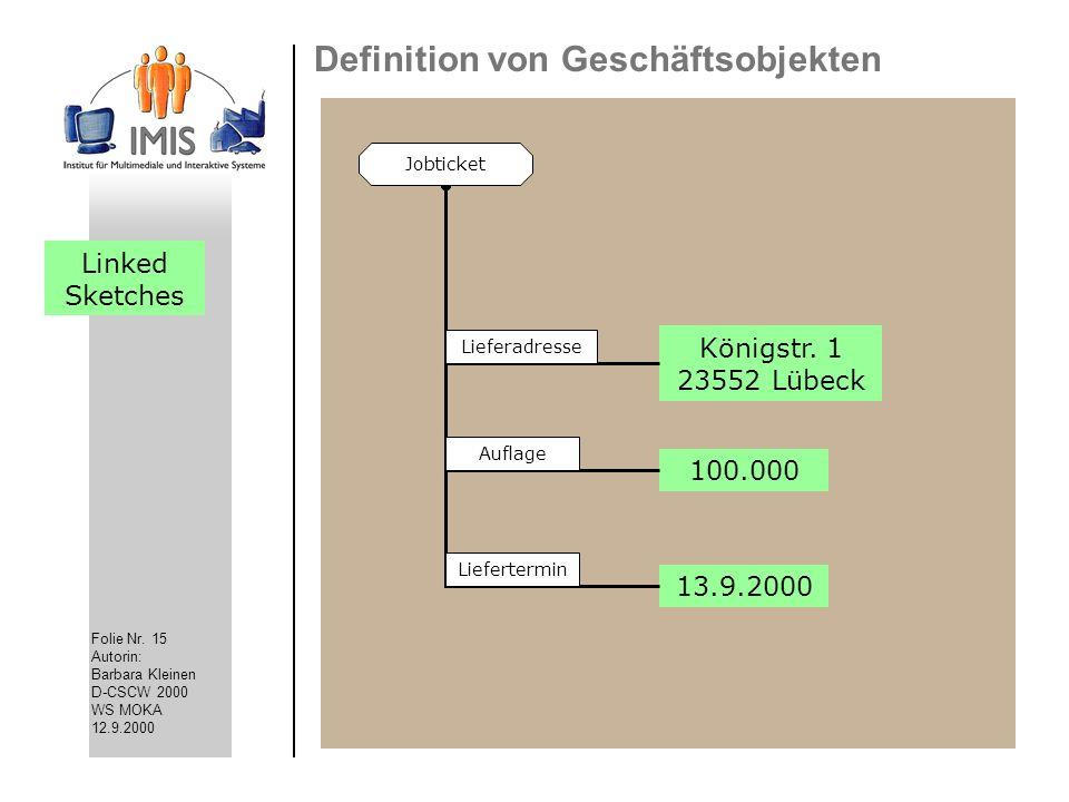 Folie Nr. 15 Autorin: Barbara Kleinen D-CSCW 2000 WS MOKA 12.9.2000 Definition von Geschäftsobjekten 100.000 Königstr. 1 23552 Lübeck 13.9.2000 Jobtic