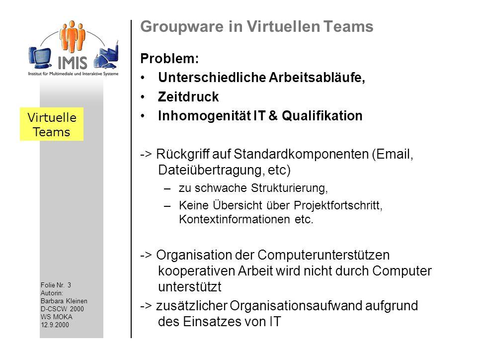 Folie Nr. 3 Autorin: Barbara Kleinen D-CSCW 2000 WS MOKA 12.9.2000 Groupware in Virtuellen Teams Problem: Unterschiedliche Arbeitsabläufe, Zeitdruck I