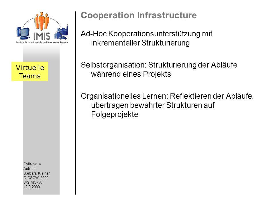 Folie Nr. 4 Autorin: Barbara Kleinen D-CSCW 2000 WS MOKA 12.9.2000 Cooperation Infrastructure Ad-Hoc Kooperationsunterstützung mit inkrementeller Stru