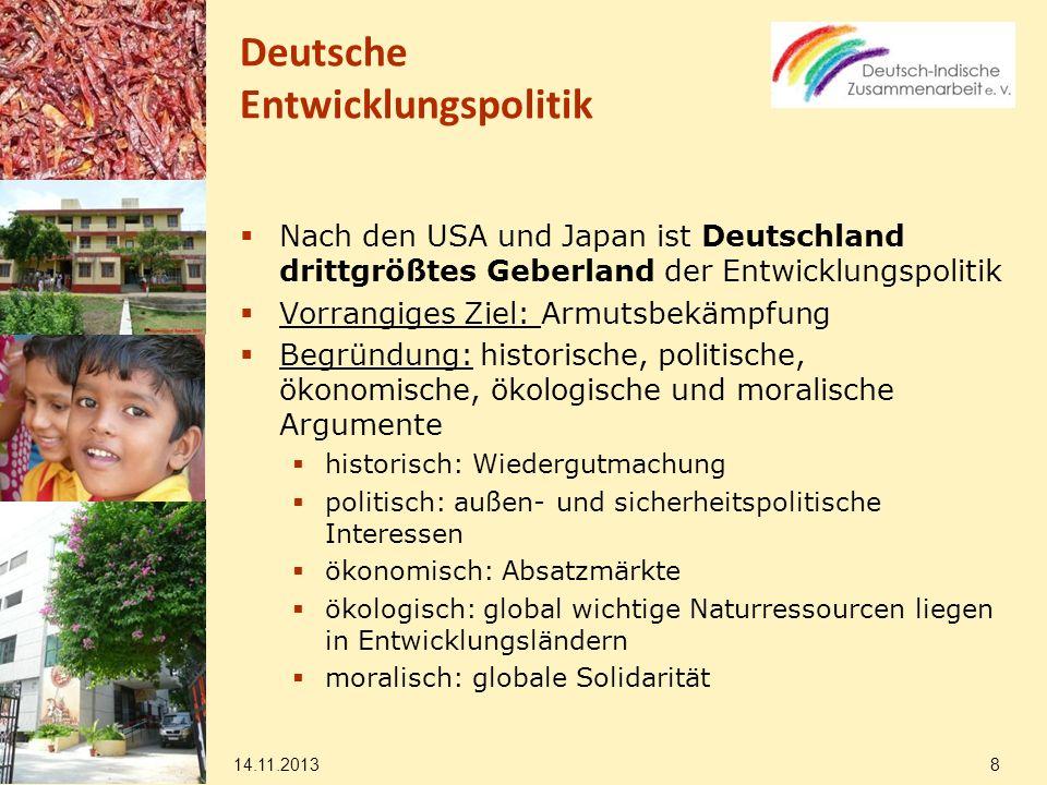 für das Haushaltsjahr stehen dem BMZ EUR 6,070 Milliarden zur Verfügung Steigerung um 4,4 % Prozent gegenüber 2009 14.11.2013 9 Deutsche Entwicklungspolitik Quelle: BMZ