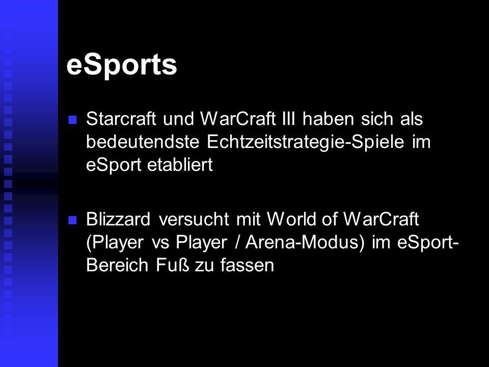 eSports Starcraft und WarCraft III haben sich als bedeutendste Echtzeitstrategie-Spiele im eSport etabliert Starcraft und WarCraft III haben sich als