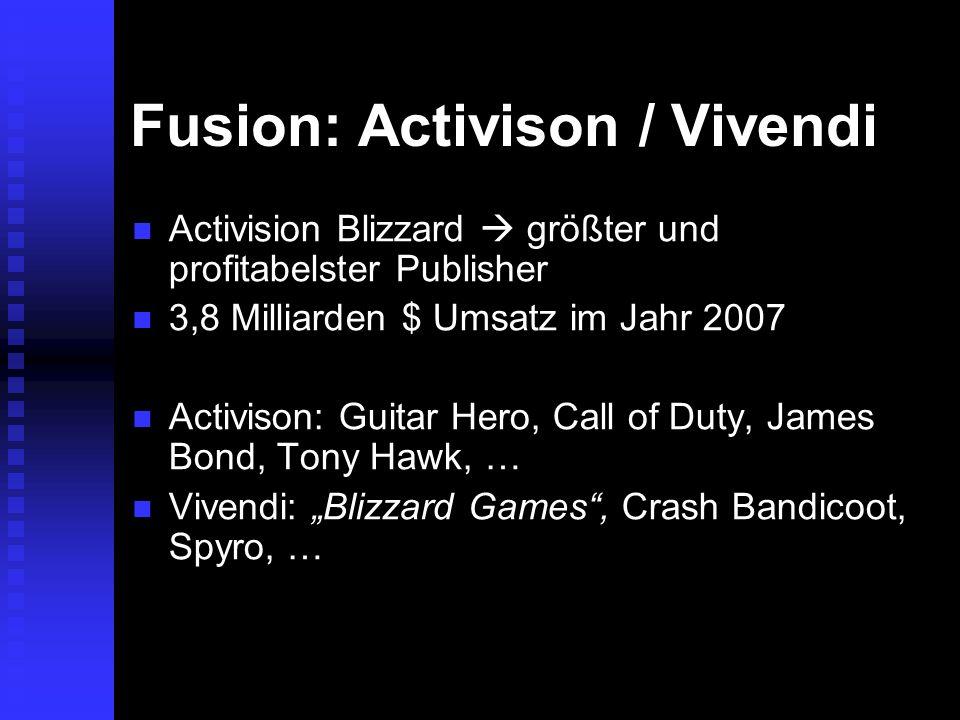 Fusion: Activison / Vivendi Activision Blizzard größter und profitabelster Publisher Activision Blizzard größter und profitabelster Publisher 3,8 Mill