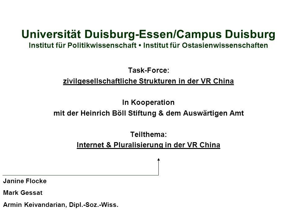 Universität Duisburg-Essen/Campus Duisburg Institut für Politikwissenschaft Institut für Ostasienwissenschaften Task-Force: zivilgesellschaftliche Str