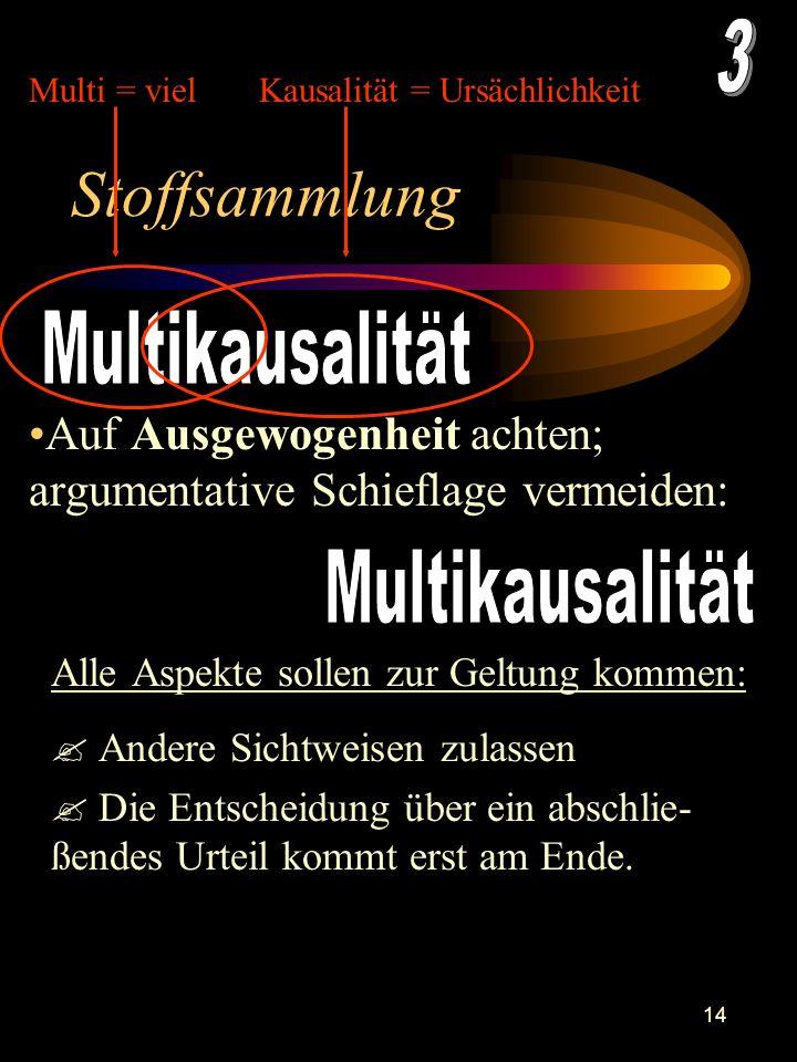 13 Multiperspektivität Einen Gegenstand aus mehreren unterschiedlichen Perspektiven heraus betrachten.