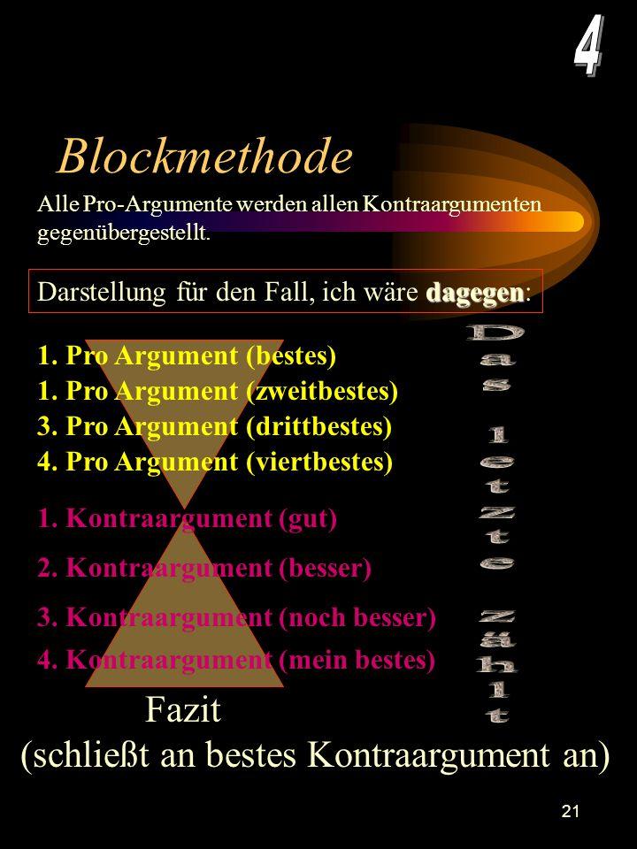 20 Blockmethode Diese Darstellung ist dann angemessen, wenn ich eine deutliche Position zu Pro, bzw. Kontra vertrete. Alle Pro-Argumente werden allen