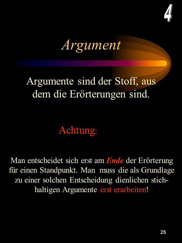 24 Gliederung –Welche Argumente bedürfen der logischen Vorschaltung anderer? Stehen die einzelnen Argumente neben oder untereinander? –Welche Reihenfo