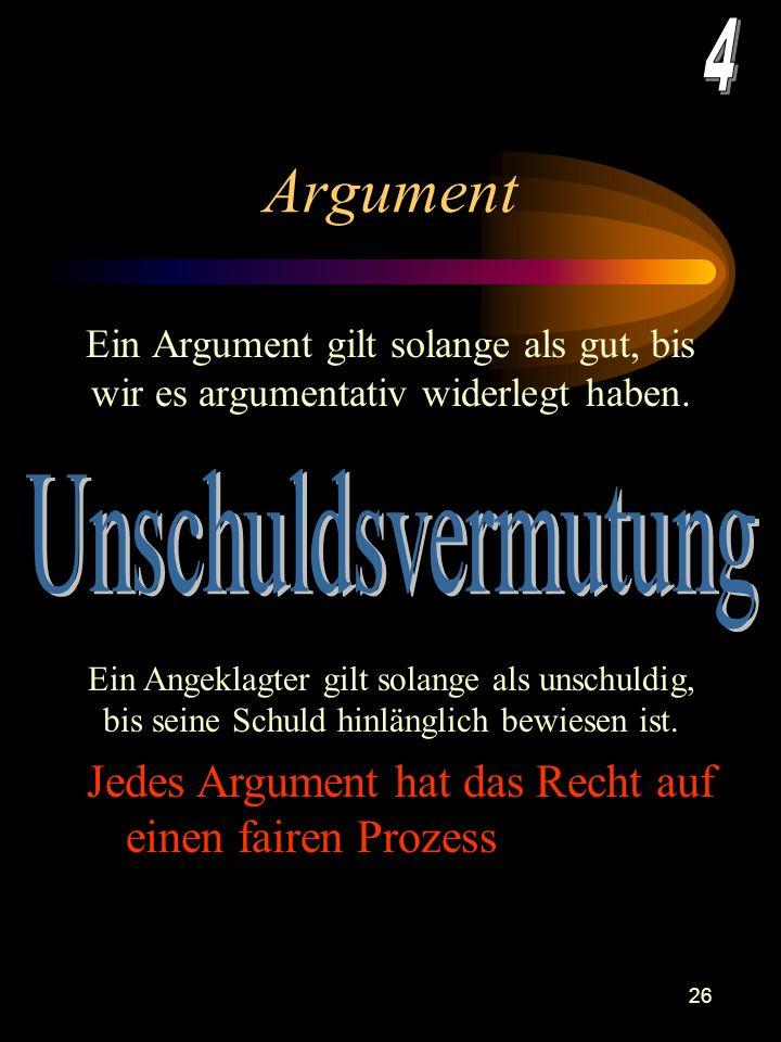25 Argument Argumente sind der Stoff, aus dem die Erörterungen sind. Achtung : Man entscheidet sich erst am Ende der Erörterung für einen Standpunkt.
