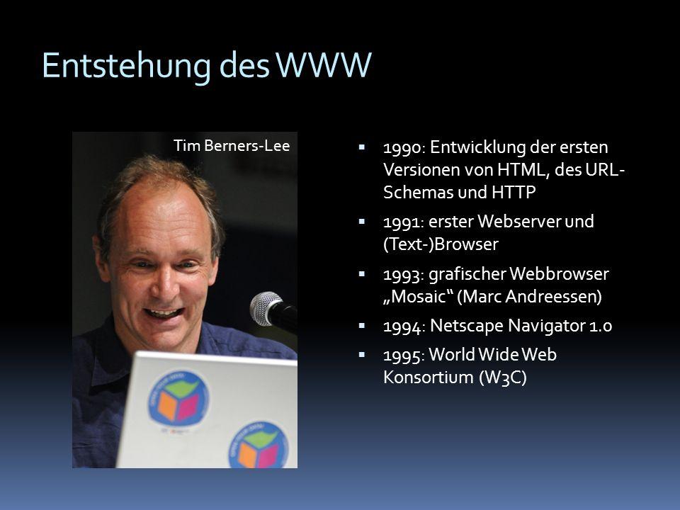 Entstehung des WWW 1990: Entwicklung der ersten Versionen von HTML, des URL- Schemas und HTTP 1991: erster Webserver und (Text-)Browser 1993: grafisch