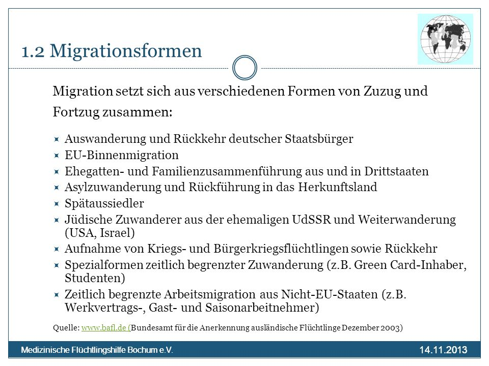 14.11.2013 Medizinische Flüchtlingshilfe Bochum e.V. 14.11.2013 Medizinische Flüchtlingshilfe Bochum e.V. 1.2 Migrationsformen Migration setzt sich au