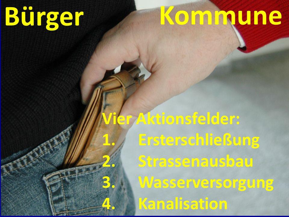 Bürger Kommune Vier Aktionsfelder: 1.Ersterschließung 2.Strassenausbau 3.Wasserversorgung 4.Kanalisation