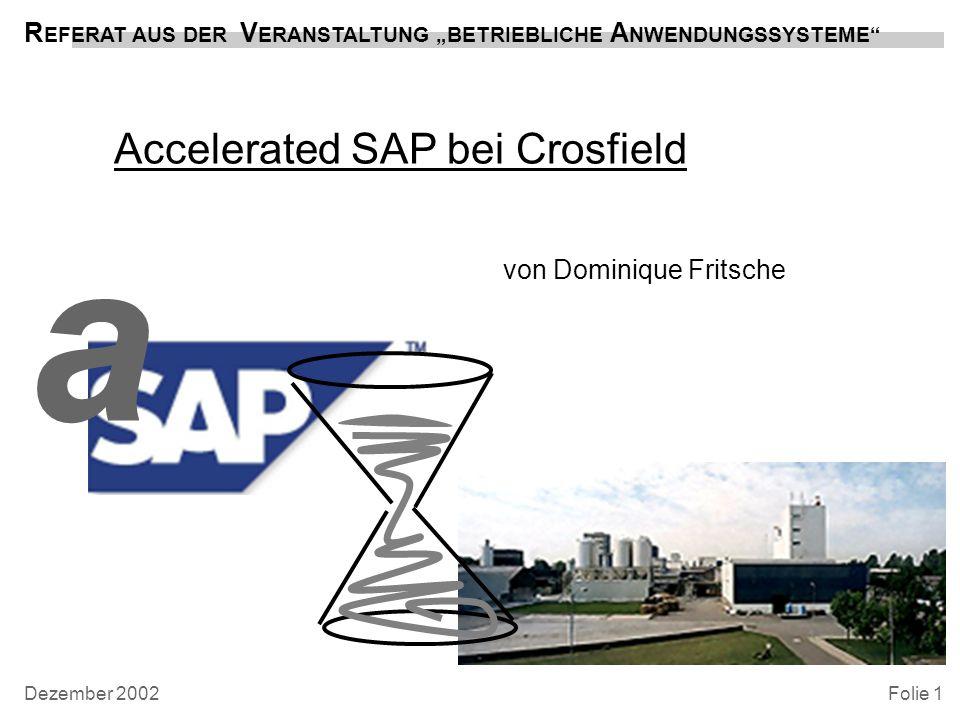 Accelerated SAP bei Crosfield von Dominique Fritsche R EFERAT AUS DER V ERANSTALTUNG BETRIEBLICHE A NWENDUNGSSYSTEME Folie 1 a Dezember 2002