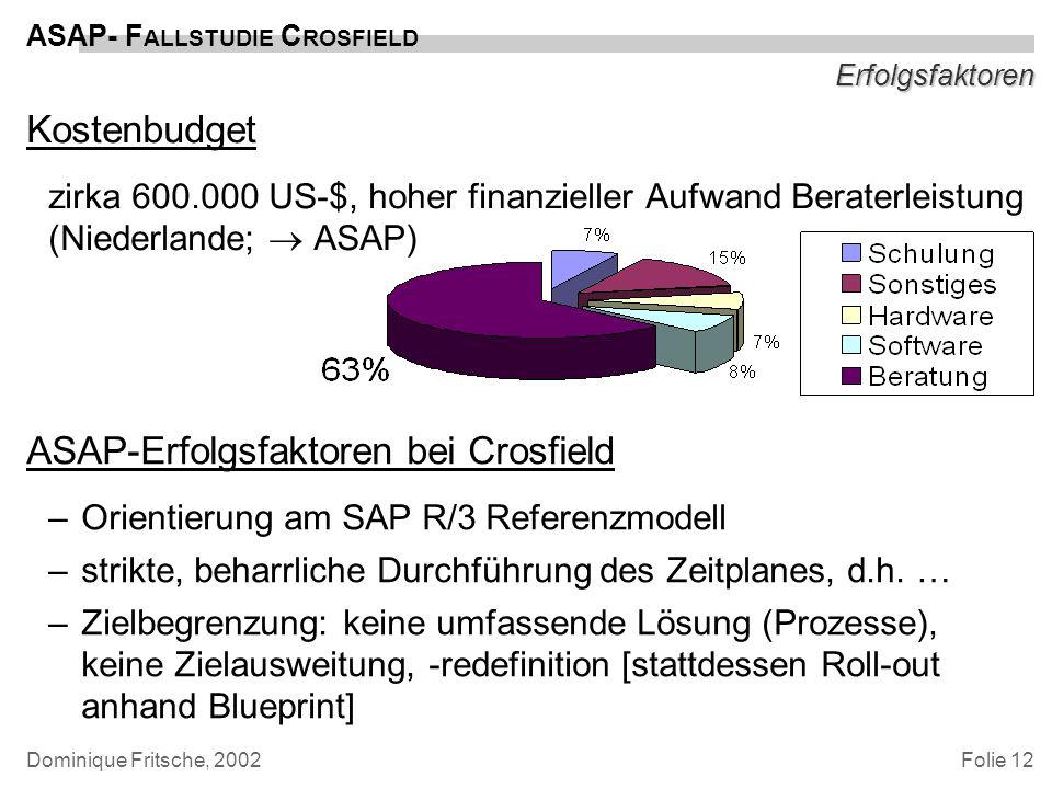 Folie 12 ASAP- F ALLSTUDIE C ROSFIELD Dominique Fritsche, 2002 Erfolgsfaktoren Kostenbudget zirka 600.000 US-$, hoher finanzieller Aufwand Beraterleis
