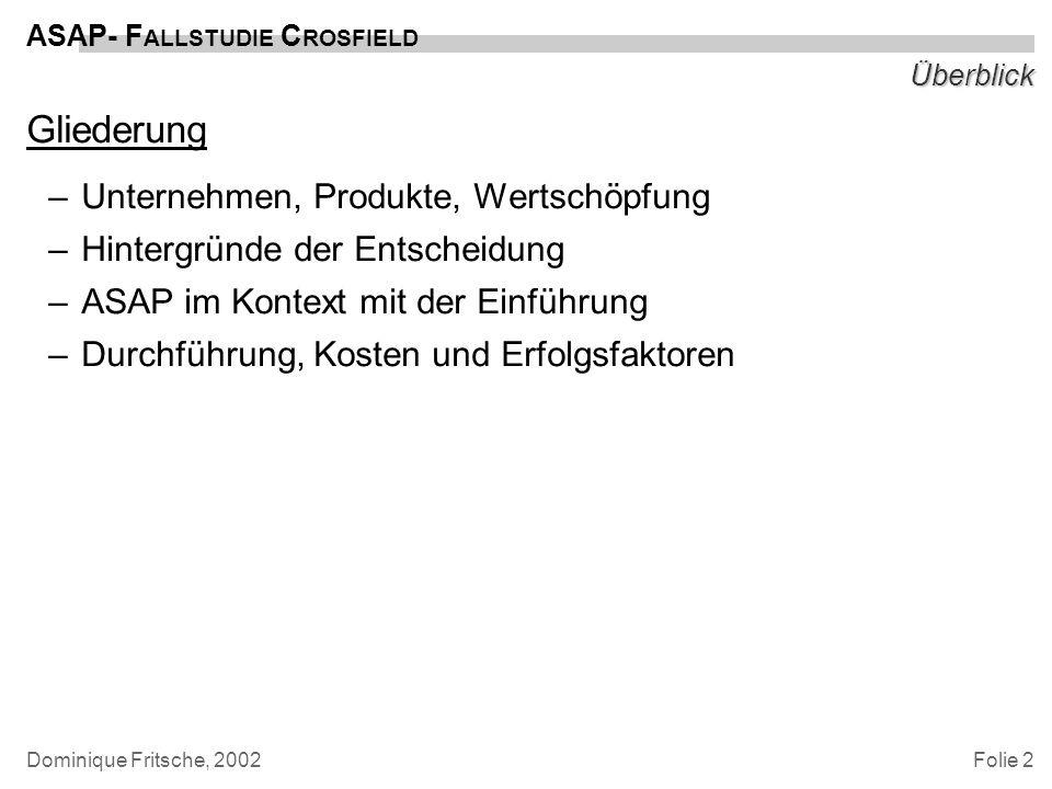 Folie 13 ASAP- F ALLSTUDIE C ROSFIELD Dominique Fritsche, 2002 Fazit Ergebnisse –Milleniums- und Euro-Problem bewältigt –unmittelbare Verfügbarkeit der Lagerbestände, Verringerung des Lagerbestands (-kosten) –konsistente Datenbasis (Controlling, Preiskalkulation, auch: Produktentwicklung) –mittelfristige Perspektive: Kunden und Lieferanten per EDI anbinden (nach Go-Live) –Projektdokumentation Vorlage für Roll-out in weiteren Standorten (GB, USA)