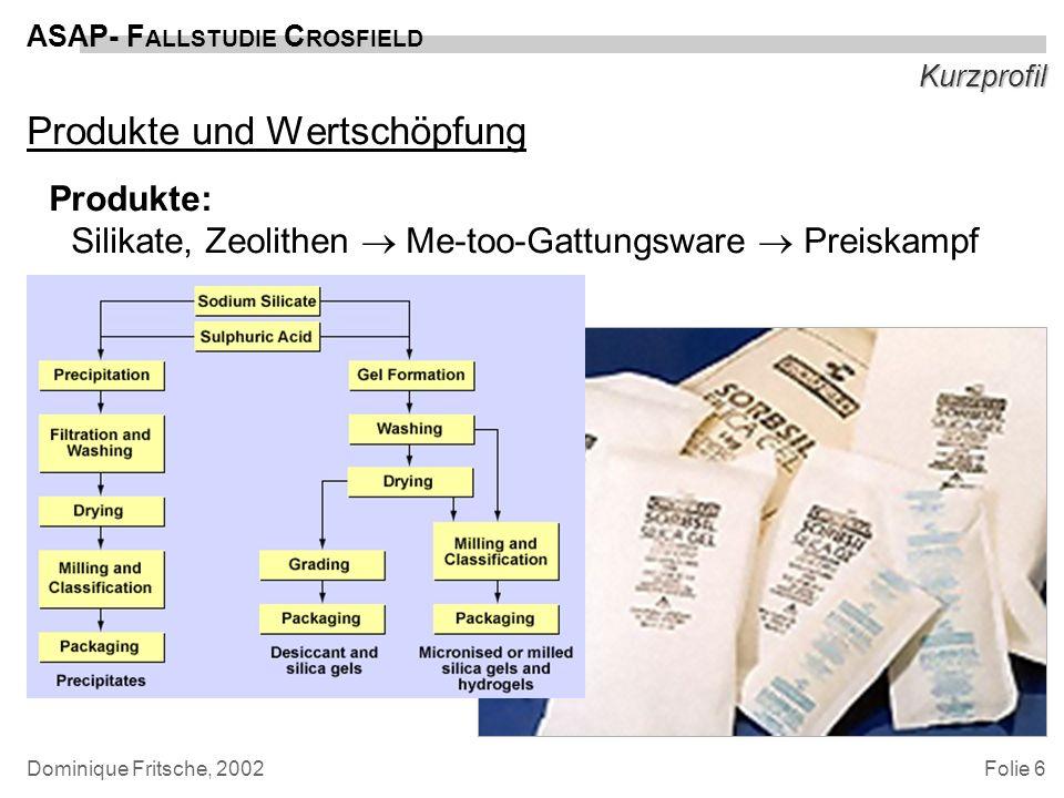 Folie 7 ASAP- F ALLSTUDIE C ROSFIELD Dominique Fritsche, 2002 Kurzprofil Produkte und Wertschöpfung Produkte: Silikate, Zeolithen Me-too-Gattungsware Preiskampf Wertschöpfung: klassische Wertschöpfungskette nach Porter