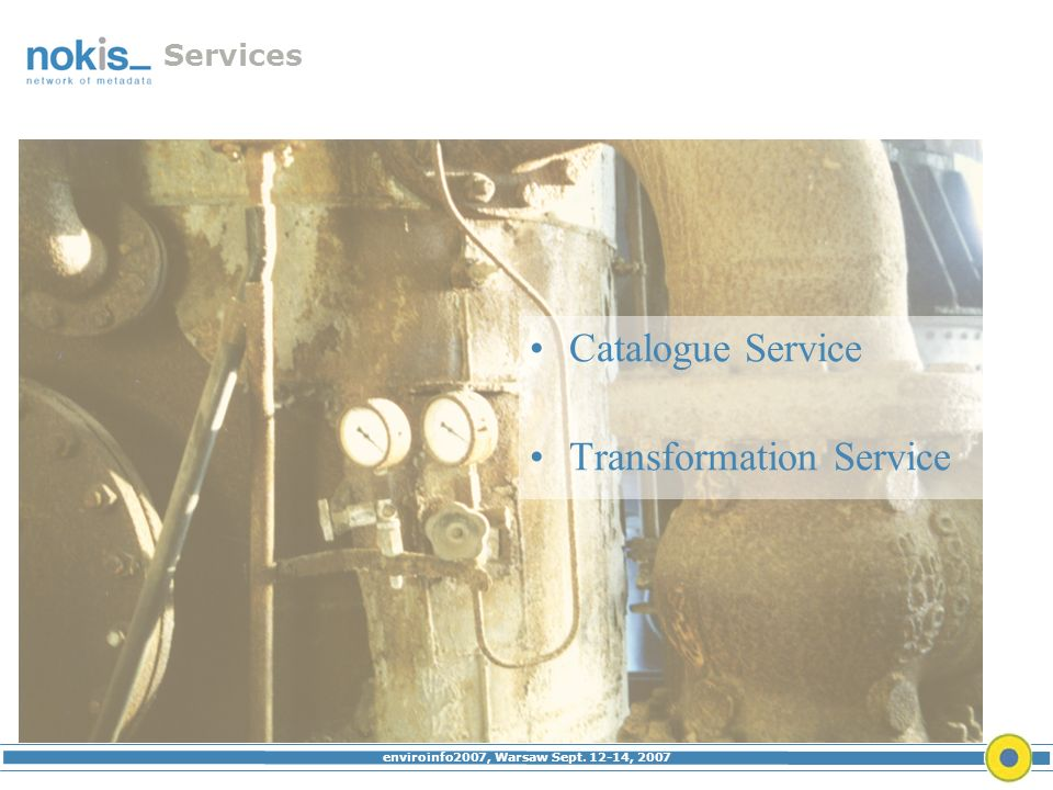enviroinfo2007, Warsaw Sept. 12-14, 2007 Services Catalogue Service Transformation Service