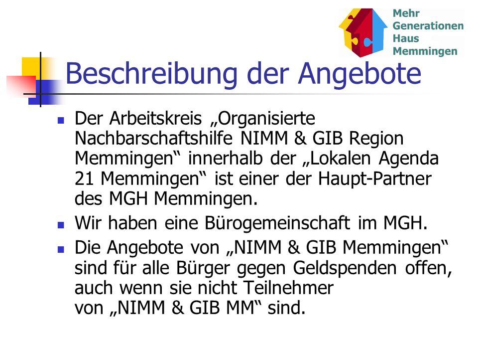 Beschreibung der Angebote Der Arbeitskreis Organisierte Nachbarschaftshilfe NIMM & GIB Region Memmingen innerhalb der Lokalen Agenda 21 Memmingen ist