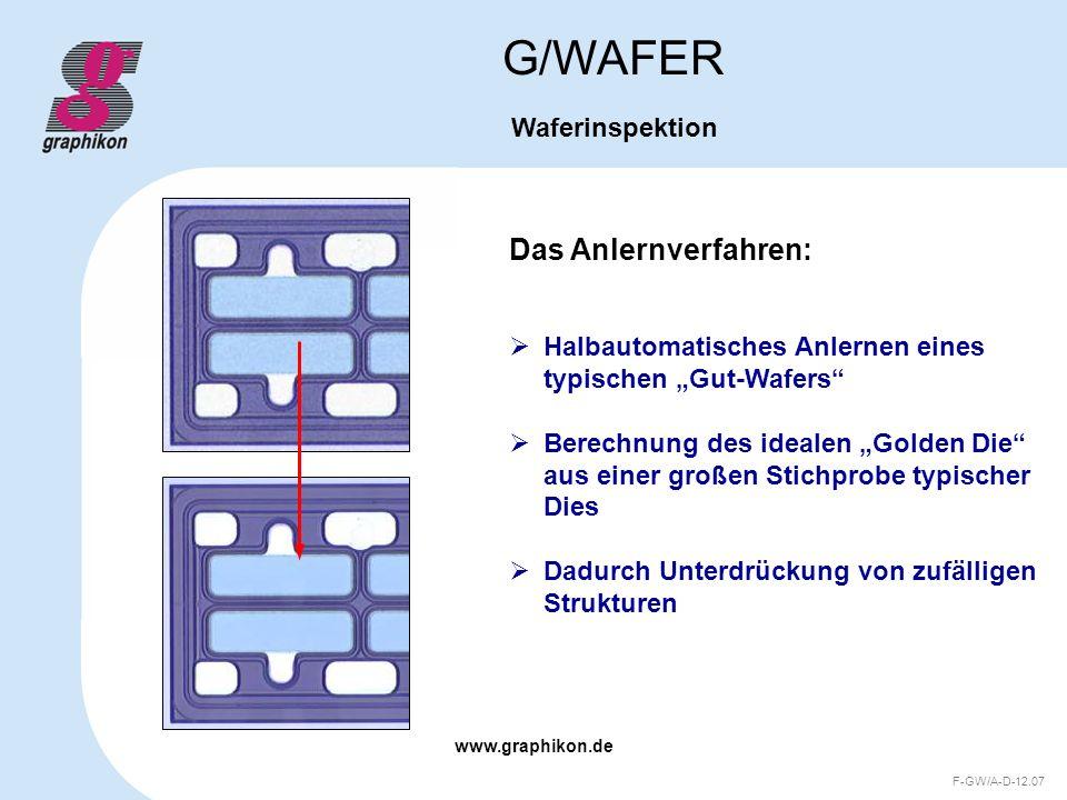 www.graphikon.de F-GW/A-D-12.07 Das Anlernverfahren: G/WAFER Waferinspektion Halbautomatisches Anlernen eines typischen Gut-Wafers Berechnung des idea