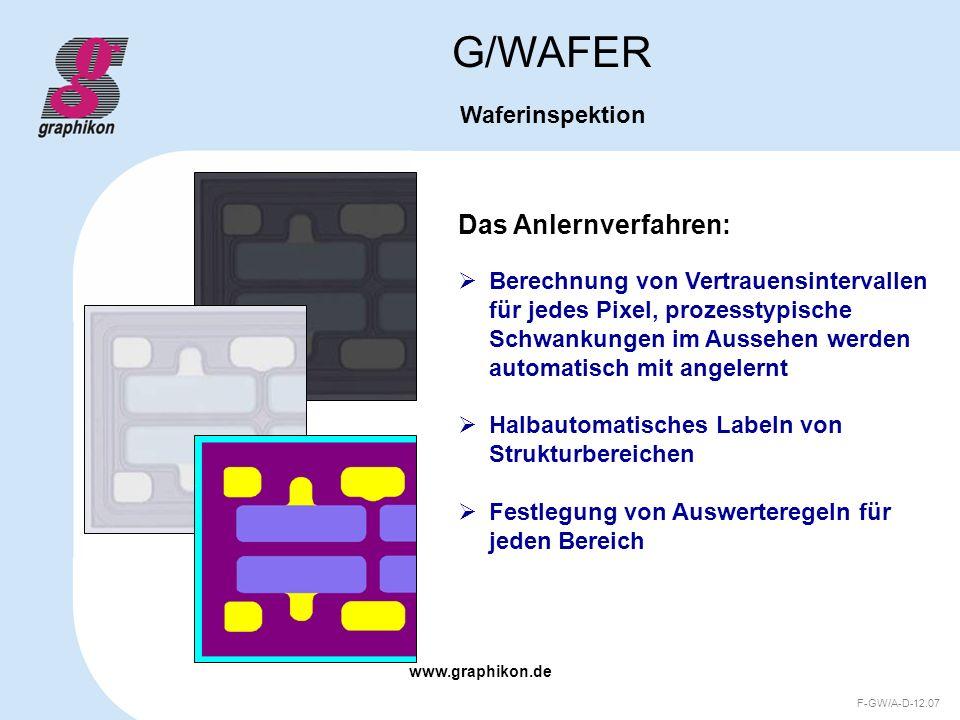 www.graphikon.de F-GW/A-D-12.07 Das Anlernverfahren: G/WAFER Waferinspektion Berechnung von Vertrauensintervallen für jedes Pixel, prozesstypische Sch