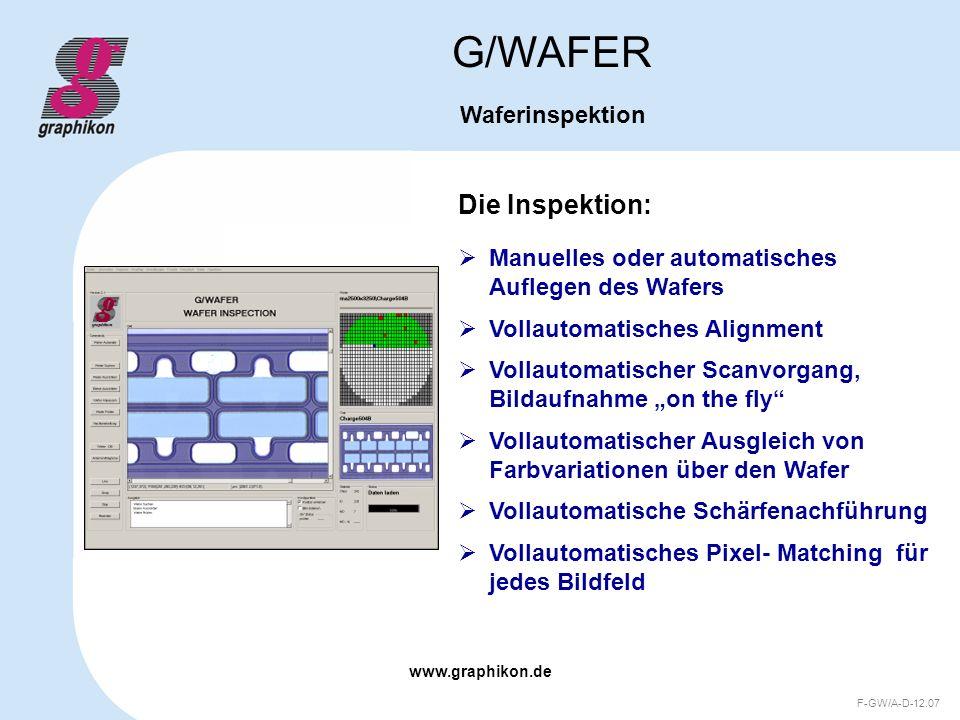 www.graphikon.de F-GW/A-D-12.07 Die Inspektion: G/WAFER Waferinspektion Manuelles oder automatisches Auflegen des Wafers Vollautomatisches Alignment V