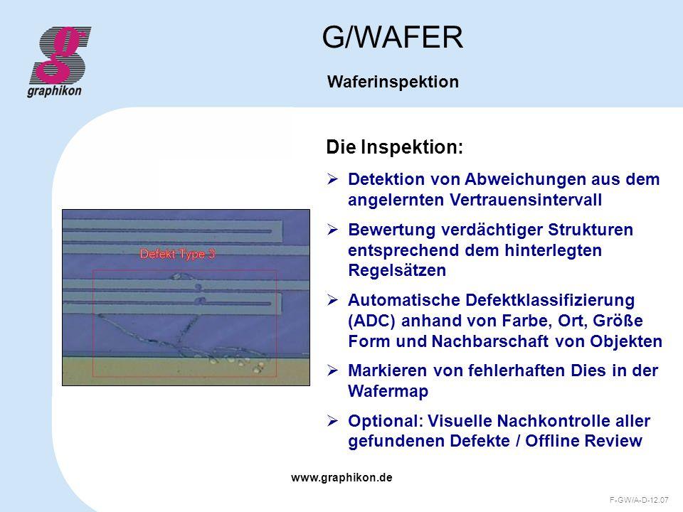 www.graphikon.de F-GW/A-D-12.07 Die Inspektion: G/WAFER Waferinspektion Detektion von Abweichungen aus dem angelernten Vertrauensintervall Bewertung v