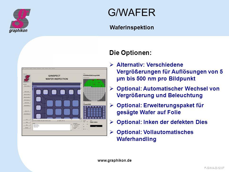 www.graphikon.de F-GW/A-D-12.07 Die Optionen: G/WAFER Waferinspektion Alternativ: Verschiedene Vergrößerungen für Auflösungen von 5 µm bis 500 nm pro
