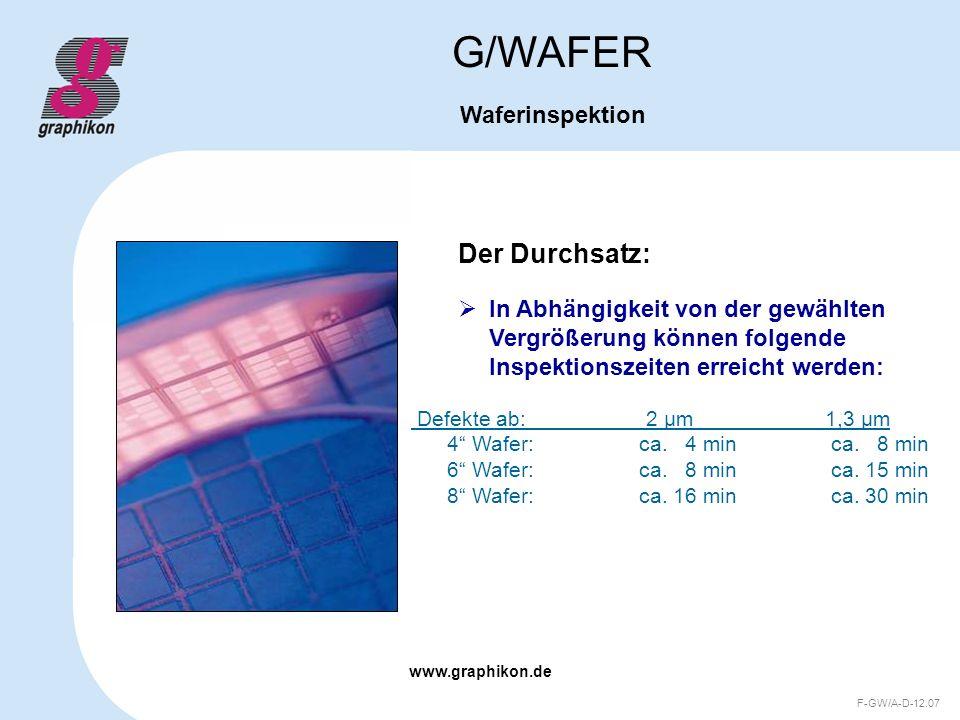 www.graphikon.de F-GW/A-D-12.07 Der Durchsatz: G/WAFER Waferinspektion In Abhängigkeit von der gewählten Vergrößerung können folgende Inspektionszeite