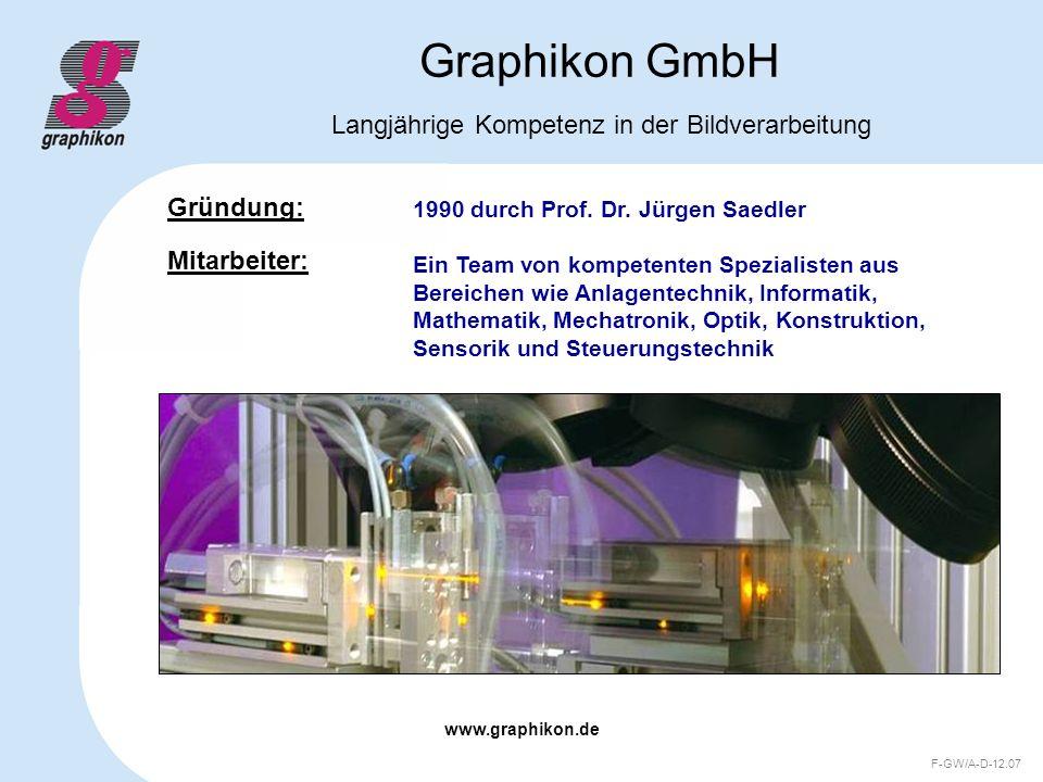 www.graphikon.de F-GW/A-D-12.07 Graphikon GmbH Produkte Kundenspezifische Inline- Inspektionssysteme mit höchster Erkennungssicherheit Stand-Alone Sortiermaschinen mit höchstem Durchsatz Offline- und Labormesssysteme mit höchster Präzision
