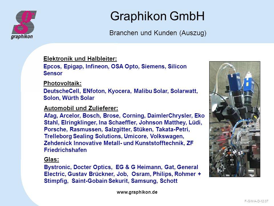www.graphikon.de F-GW/A-D-12.07 Graphikon GmbH Branchen und Kunden (Auszug) Afag, Arcelor, Bosch, Brose, Corning, DaimlerChrysler, Eko Stahl, Elringkl