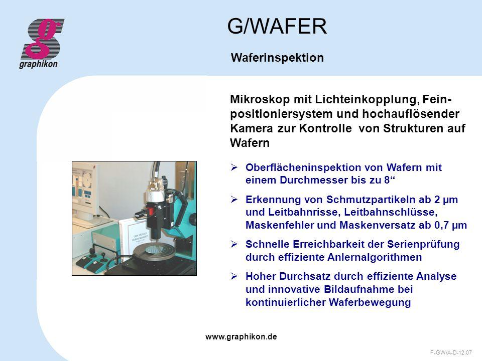 www.graphikon.de F-GW/A-D-12.07 Flexibilität: G/WAFER Waferinspektion Integration der Auswertetechnologie in neue Hardwareumgebungen (z.B.