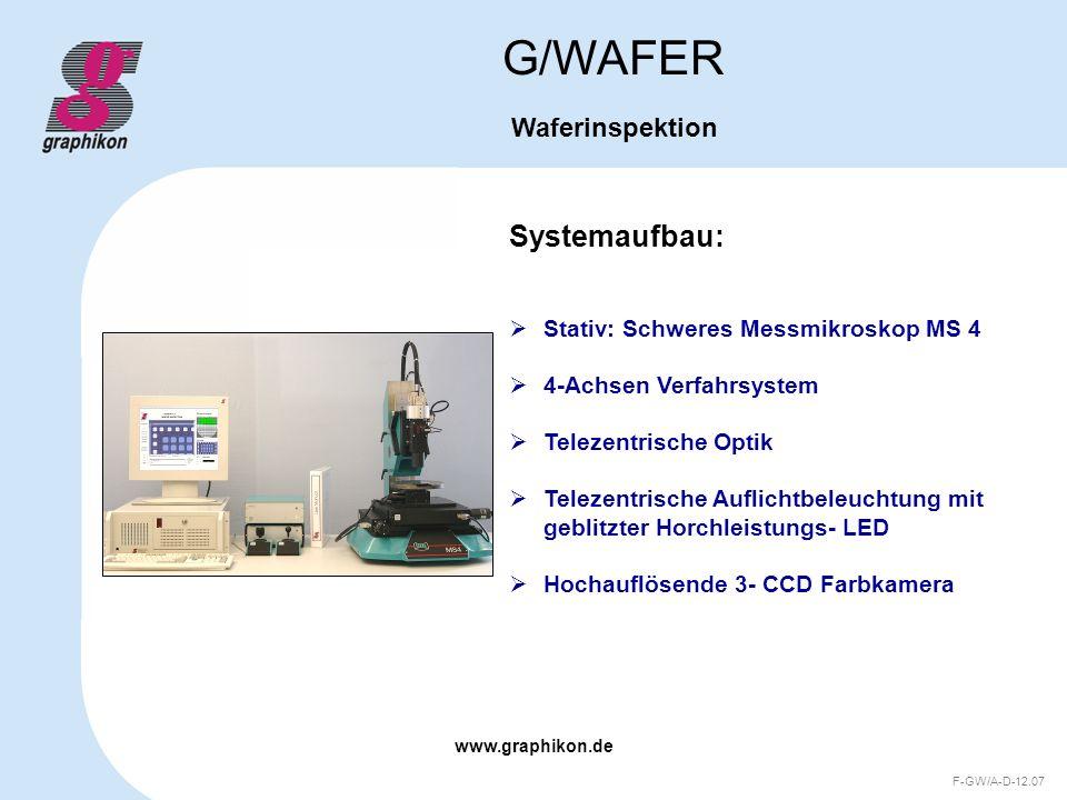 www.graphikon.de F-GW/A-D-12.07 Optimale Einsatzmöglichkeiten G/WAFER Waferinspektion Optoelektronischen Bauelementen Sensoren Mikrosystemen (MEMS) ASICs Leistungshalbleitern Substraten Und weiteren Strukturen bei der Inspektion von: