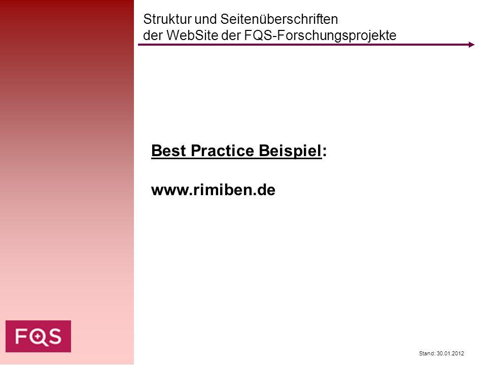 Stand: 30.01.2012 Struktur und Seitenüberschriften der WebSite der FQS-Forschungsprojekte Best Practice Beispiel: www.rimiben.de