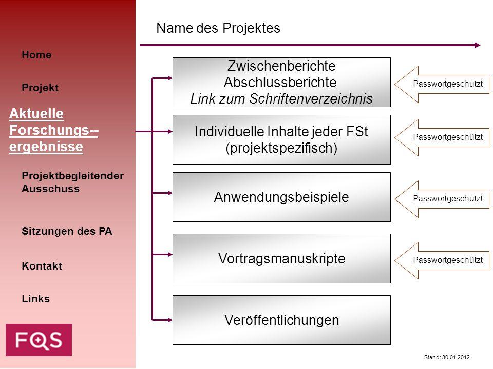 Stand: 30.01.2012 Home Kontakt Aktuelle Forschungs-- ergebnisse Sitzungen des PA Projekt Links Name des Projektes Individuelle Inhalte jeder FSt (proj