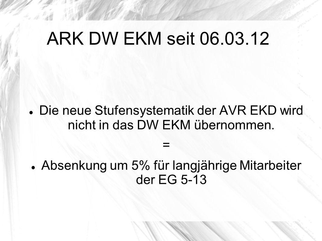 ARK DW EKM seit 06.03.12 Die neue Stufensystematik der AVR EKD wird nicht in das DW EKM übernommen. = Absenkung um 5% für langjährige Mitarbeiter der