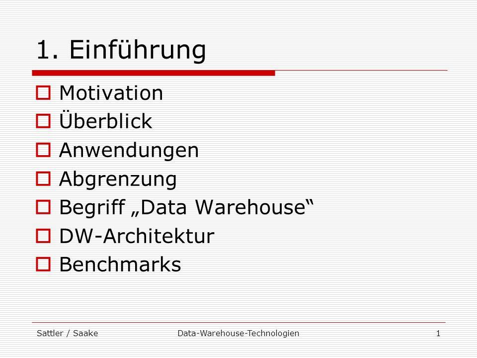 Sattler / SaakeData-Warehouse-Technologien32 Vorlesung: Zielstellungen Vermittlung von Kenntnissen zu Datenbanktechniken für Aufbau und Implementierung von Data Warehouses Anwendung bekannter DB-Techniken (siehe Vorlesung Datenbanken I) Datenmodellierung, Anfragesprachen und -verarbeitung DW-spezifische Techniken multidimensionale Datenmodellierung spezielle Anfragetechniken Indexstrukturen materialisierte Sichten