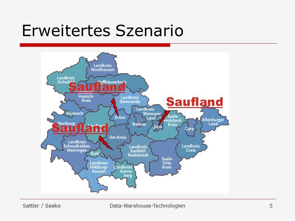 Sattler / SaakeData-Warehouse-Technologien16 Beispiel einer Anfrage Welche Umsätze sind in den Jahren 1998 und 1999 in den Abteilungen Kosmetik, Elektro und Haushaltswaren in den Bundesländern Sachsen-Anhalt und Thüringen angefallen ?