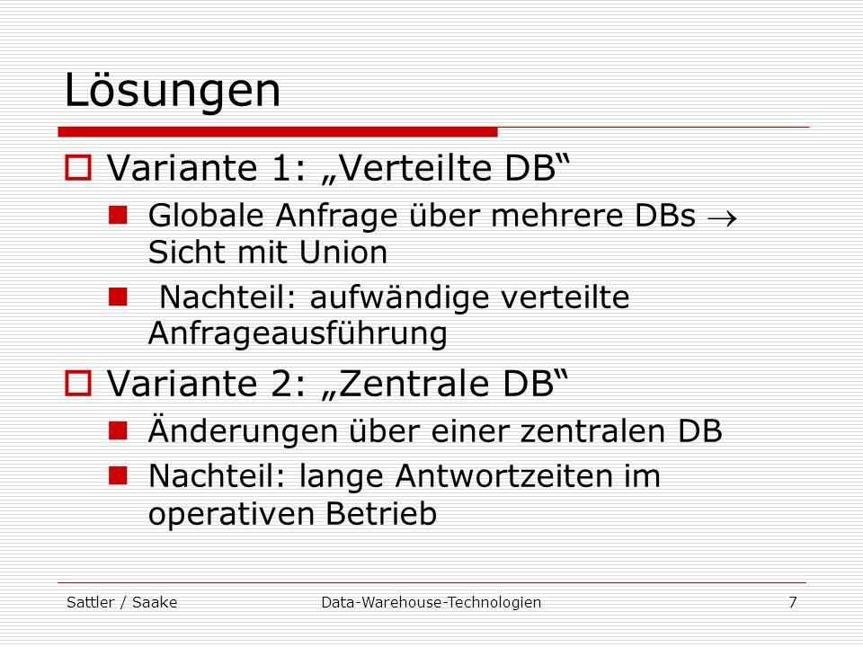 Sattler / SaakeData-Warehouse-Technologien8 Data Warehouse-Lösung Data Warehouse DB IlmenauDB ErfurtDB Jena Redundante Datenhaltung, Transformierte, vorberechnete Daten Asynchrone Aktualisierung