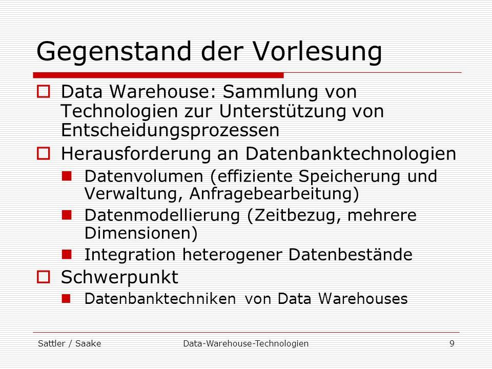 Sattler / SaakeData-Warehouse-Technologien20 Aspekte von Data Warehouses Integration Vereinigung von Daten aus verschiedenen, meist heterogenen Quellen Überwindung der Heterogenität auf verschiedenen Ebenen (System, Schema, Daten) Analyse Bereitstellung der Daten in einer vom Anwender gewünschten Form (bezogen auf Entscheidungsgebiet) erfordert Vorauswahl, Zeitbezug, Aggregation