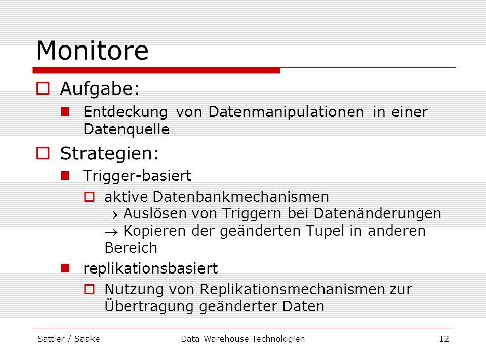 Sattler / SaakeData-Warehouse-Technologien12 Monitore Aufgabe: Entdeckung von Datenmanipulationen in einer Datenquelle Strategien: Trigger-basiert akt
