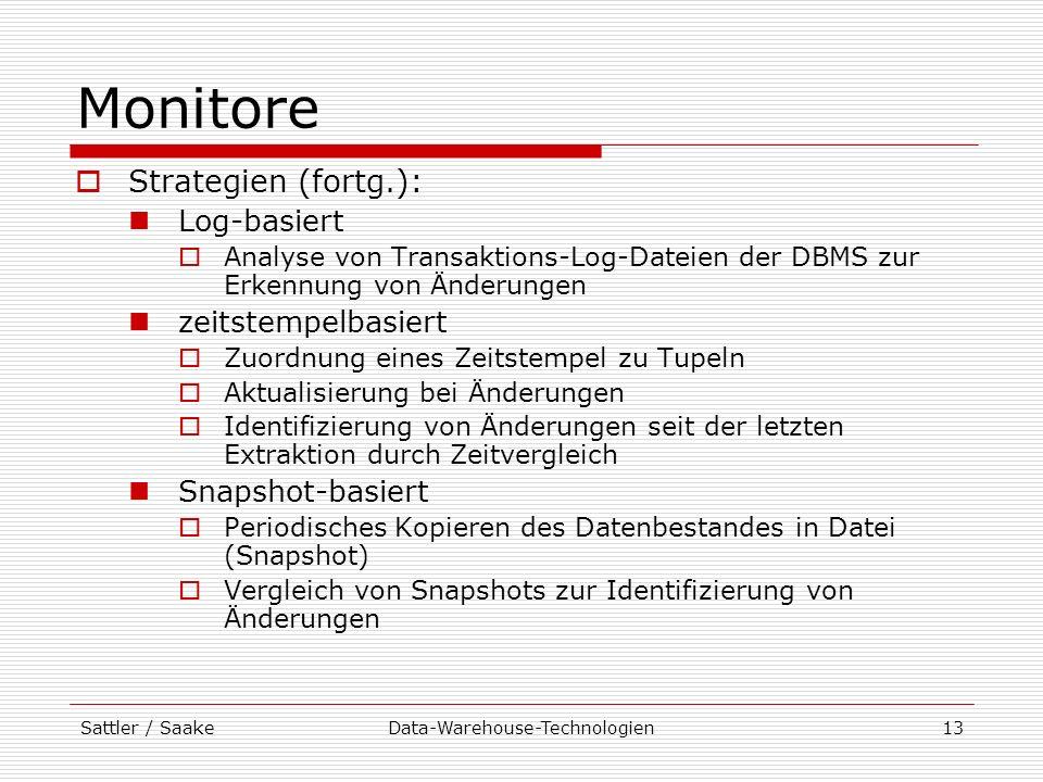 Sattler / SaakeData-Warehouse-Technologien13 Monitore Strategien (fortg.): Log-basiert Analyse von Transaktions-Log-Dateien der DBMS zur Erkennung von