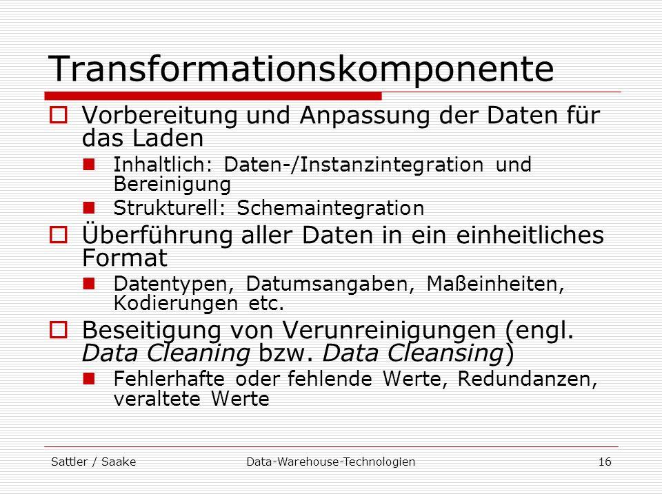 Sattler / SaakeData-Warehouse-Technologien16 Transformationskomponente Vorbereitung und Anpassung der Daten für das Laden Inhaltlich: Daten-/Instanzin
