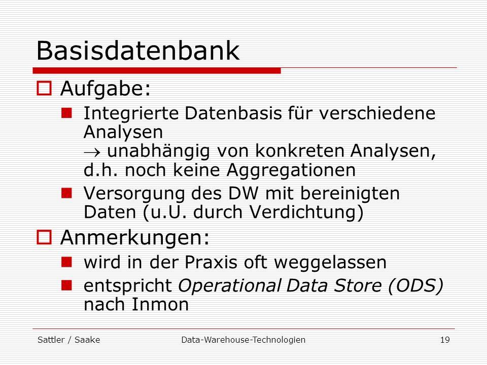 Sattler / SaakeData-Warehouse-Technologien19 Basisdatenbank Aufgabe: Integrierte Datenbasis für verschiedene Analysen unabhängig von konkreten Analyse