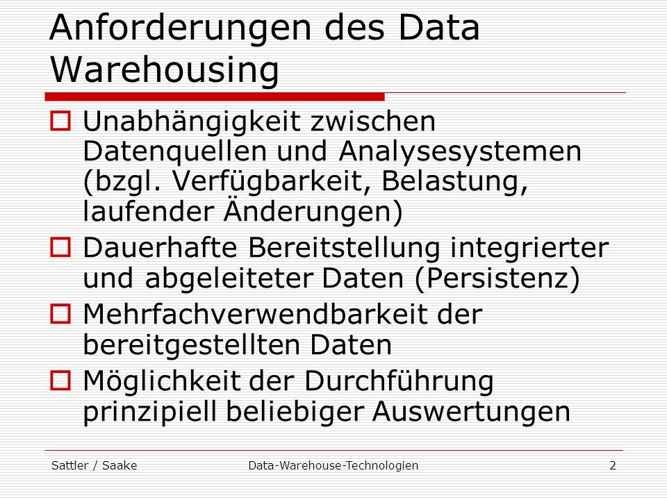Sattler / SaakeData-Warehouse-Technologien13 Monitore Strategien (fortg.): Log-basiert Analyse von Transaktions-Log-Dateien der DBMS zur Erkennung von Änderungen zeitstempelbasiert Zuordnung eines Zeitstempel zu Tupeln Aktualisierung bei Änderungen Identifizierung von Änderungen seit der letzten Extraktion durch Zeitvergleich Snapshot-basiert Periodisches Kopieren des Datenbestandes in Datei (Snapshot) Vergleich von Snapshots zur Identifizierung von Änderungen